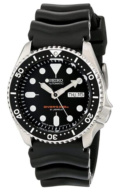 Genuine Seiko dive wristwatch with silicone strap