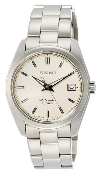 watch with white analog dial and automatic movement