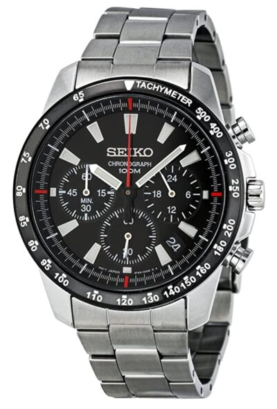 Silver band and black dial chronograph watch from Seiko