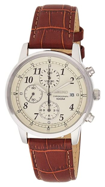 Classic beige analog watch with brown leather strap