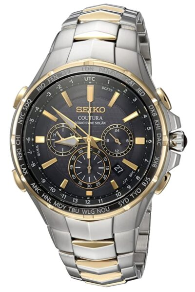 Silver and gold toned solar radio watch