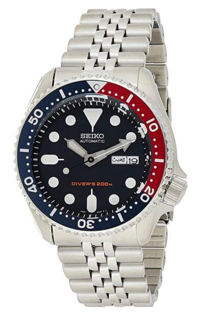 Pepsi bezel Seiko automatic watch resembling a Rolex