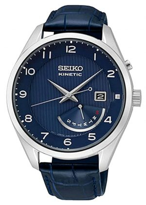 An all-blue timepiece with leather strap