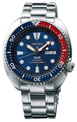 A cushion-shaped Seiko watch with blue dial
