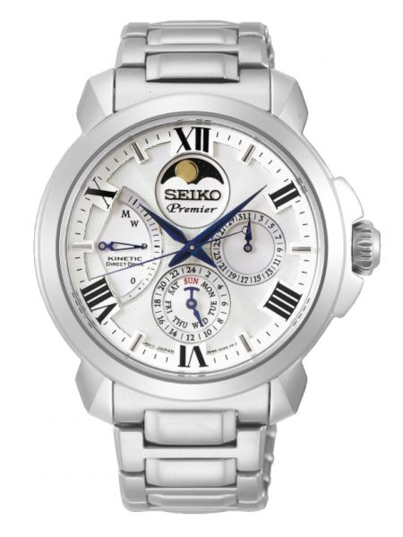Seiko Premier watch with moon phase function at twelve o'clock