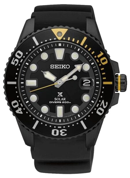 Black Seiko piece with a yellow accent on a bezel