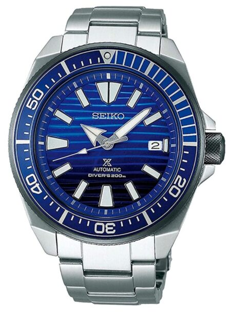 Stainless steel watch with blue dial