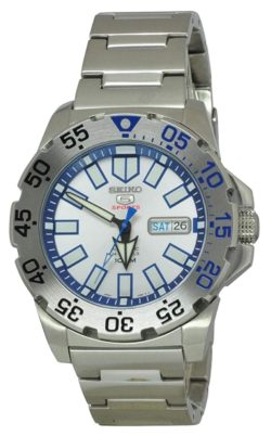 Icy blue and white metal timepiece