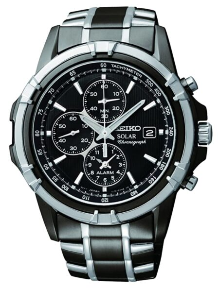 Dark metal Seiko watch with black dial and solar quartz movement