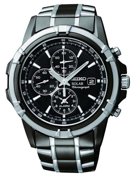 Dark metal watch with black dial