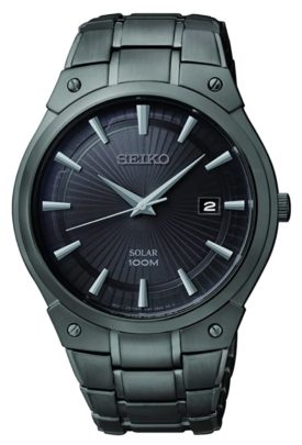Seiko's dress watch with black dial and metal bracelet