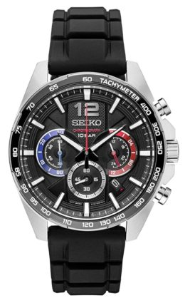 Seiko sports chrono with blue and red accents and rubber band
