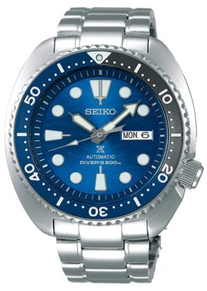 Oval-shaped turtle dive watch with wavy blue dial