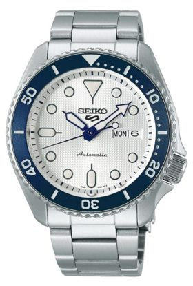 Seiko diver's piece with white face and blue bezel