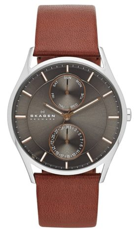 Slim minimalist timepiece with brown leather band