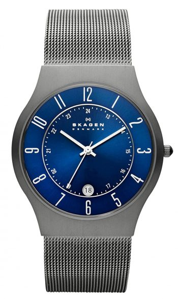 Minimalistic watch with blue dial and metal mesh band