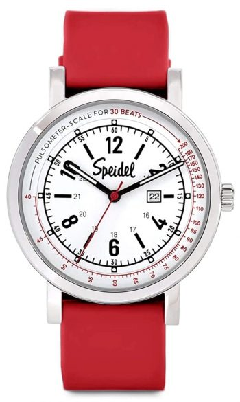 Nurse watch with red strap and pulsometer ring