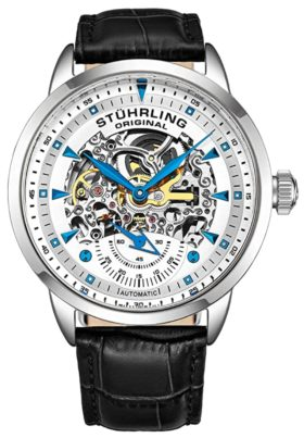 automatic skeleton watch with brown strap
