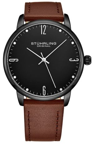 One of the best slim watches with black face and brown band