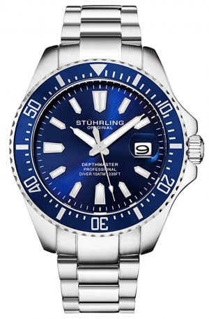 Stuhrling dive watch with blue dial