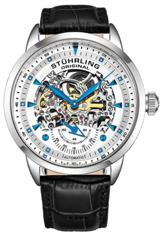 A skeletonized Stuhrling automatic watch with blue hands and indices