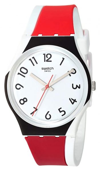 Easy to read plastic watch with white dial