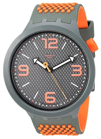 Large-cased Swatch piece with orange accent