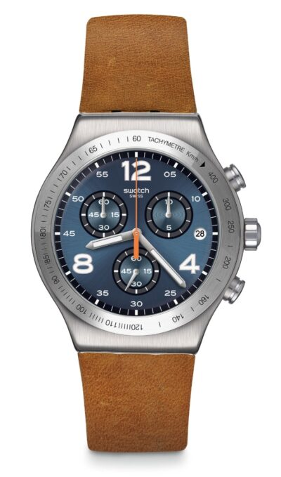 stainless steel timepiece with brown leather and tachymeter bezel