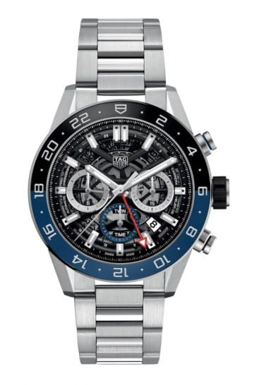 Luxurious skeletal timepiece with blue and black tint