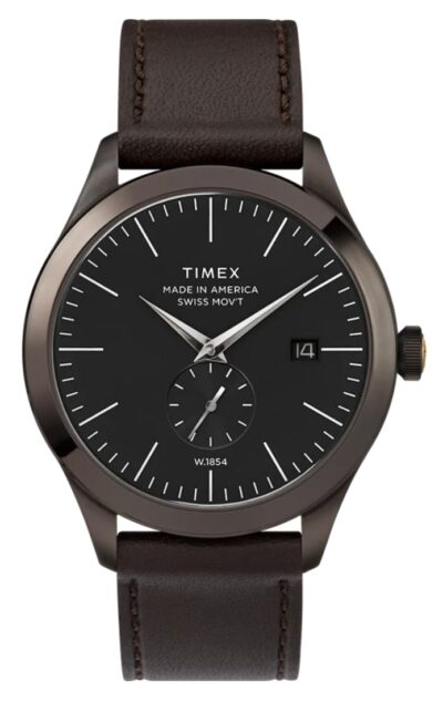 black dial analog timepiece