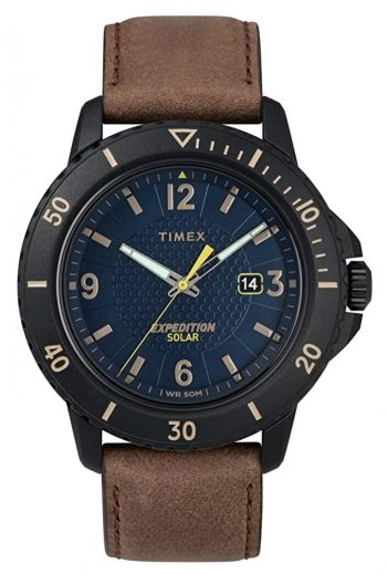 Timex casual watch with brown leather strap