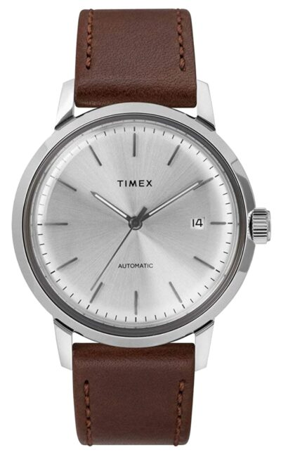 silver dial and brown leather timepiece