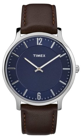 Ultra-thin men's watch with blue dial and silver markers
