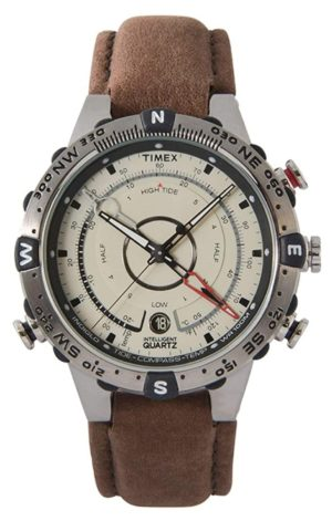 Analog hunting and survival timepiece with compass and thermometer