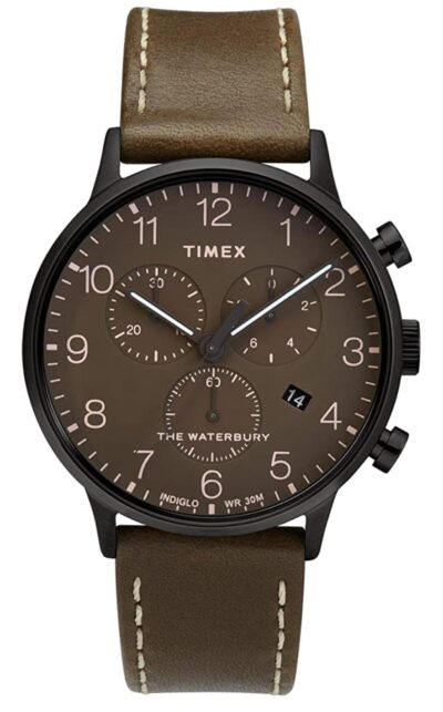 Brown dial and leather analog watch