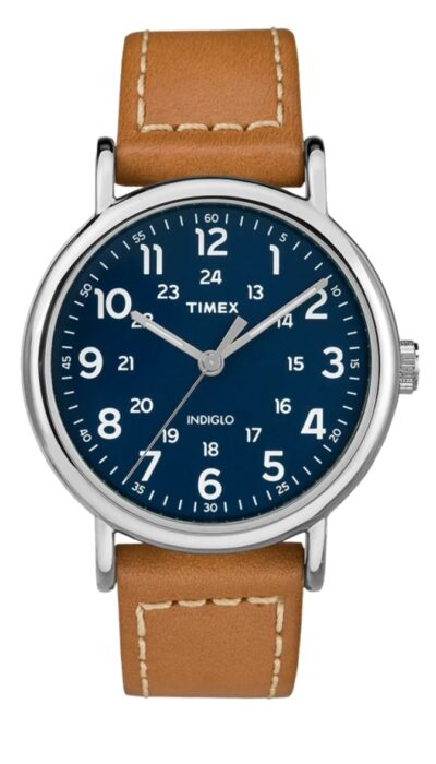 Timex watch with simple blue face