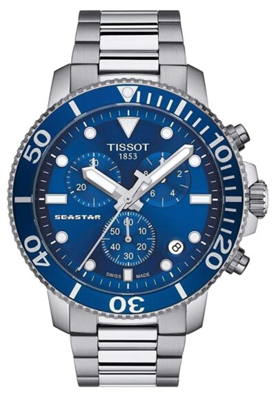 Ocean blue dial and steel watch