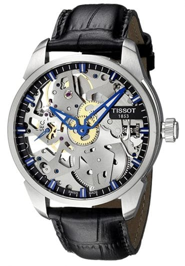 Robust skeleton watch with blue hands