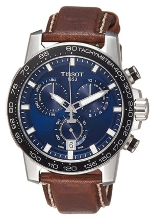 brown leather Swiss-made Tissot watch with blue dial