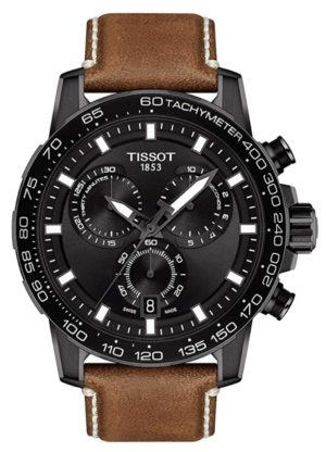 Tissot big face watch with black dial and chronograph