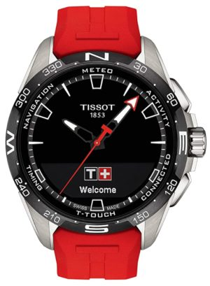 A Swiss-made solar tactile watch with red band