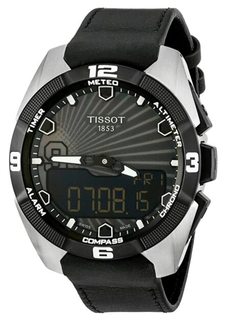 silver-and-black watch with touchscreen face