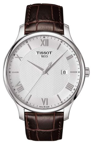 Thin Tissot men's watch with textured dial and leather band