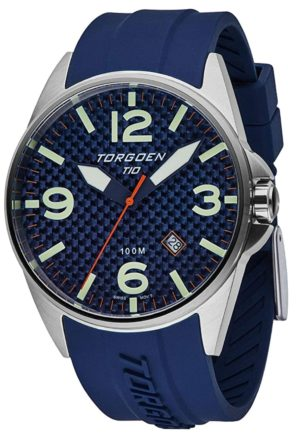 Blue Torgoen watch with carbon dial and sapphire crystal