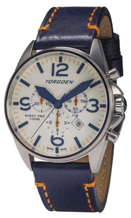 A Swiss-made Torgoen piece with blue hands and luminescent dial