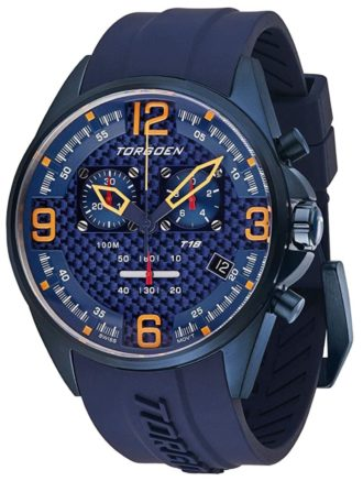 Racing-inspired timepiece with a blue appeal and chronograph feature