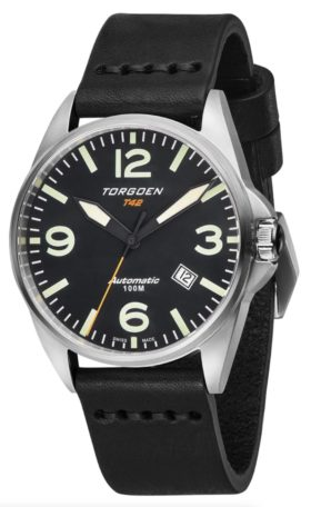 Automatic T42 timepiece with black dial