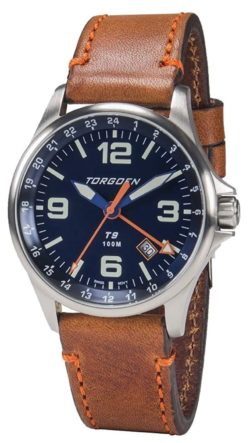 A classic Torgoen piece with leather and and four watch hands