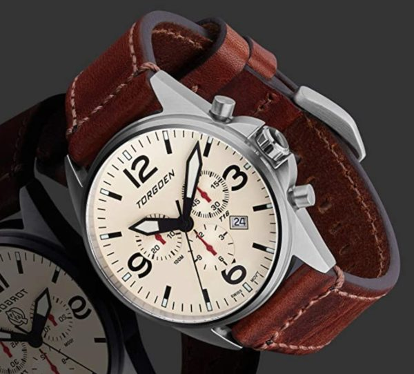 Torgoen watch with leather band and creme dial