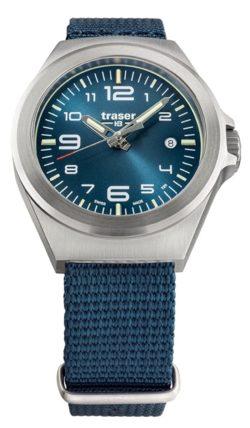 Swiss-made tritium lume watch with blue strap